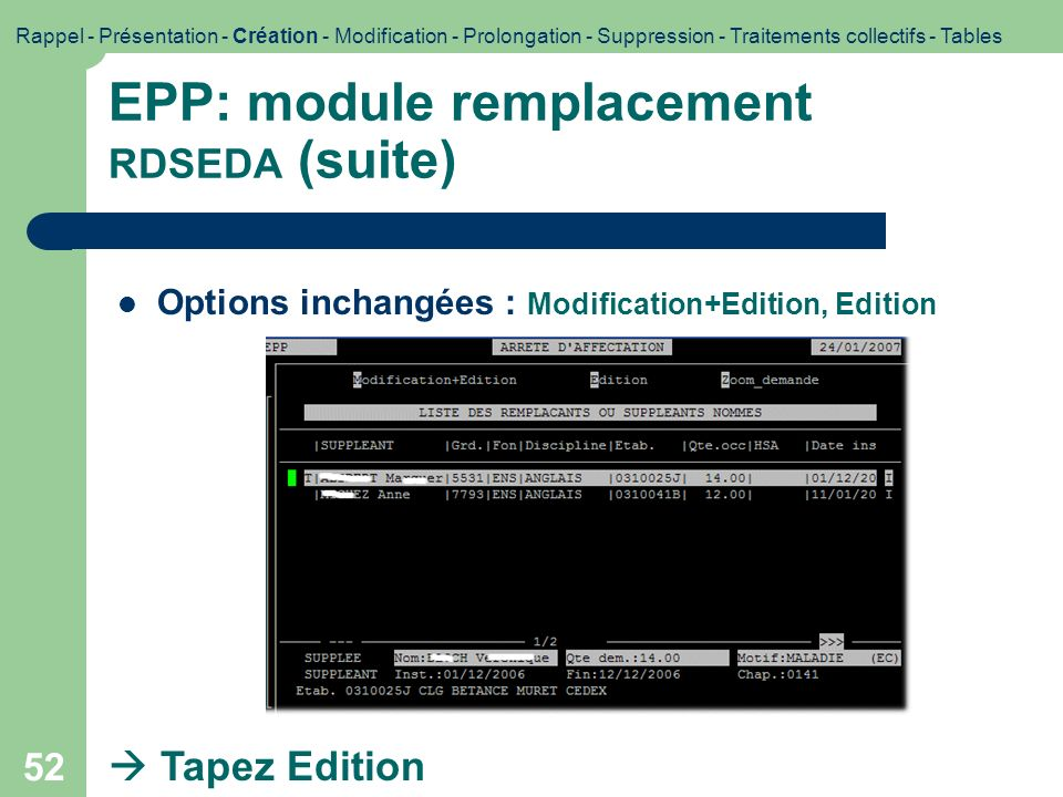 EPP: module remplacement RDSEDA (suite)