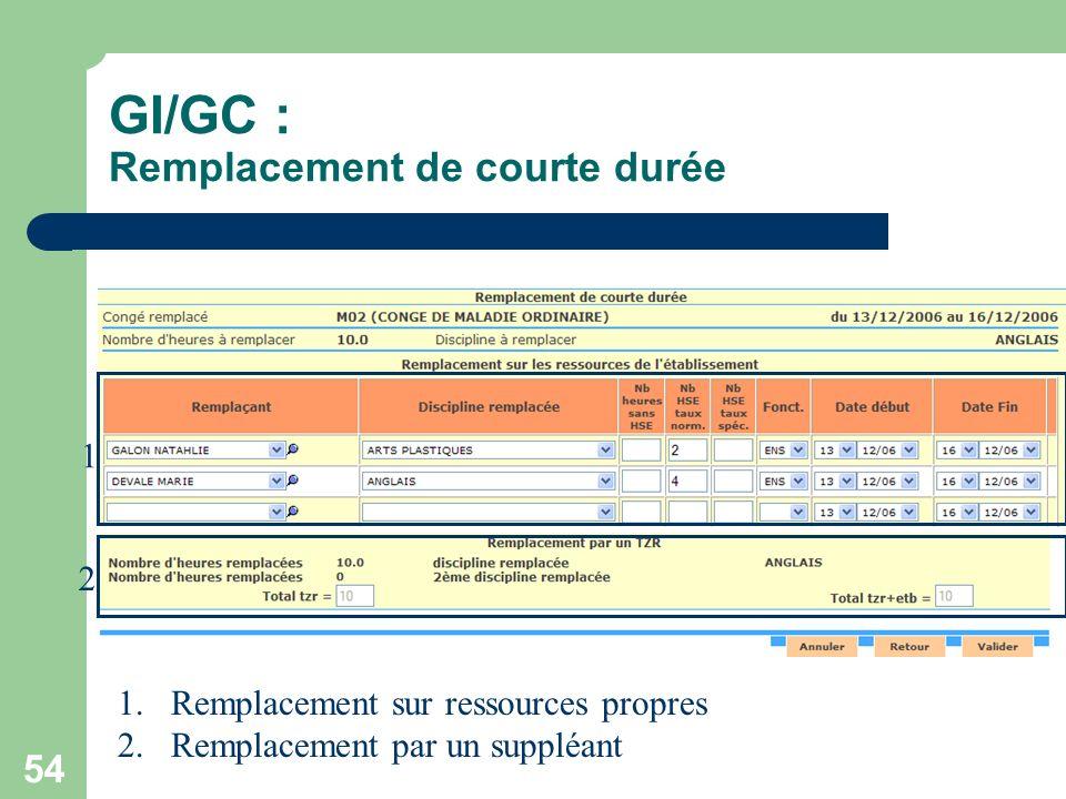 GI/GC : Remplacement de courte durée