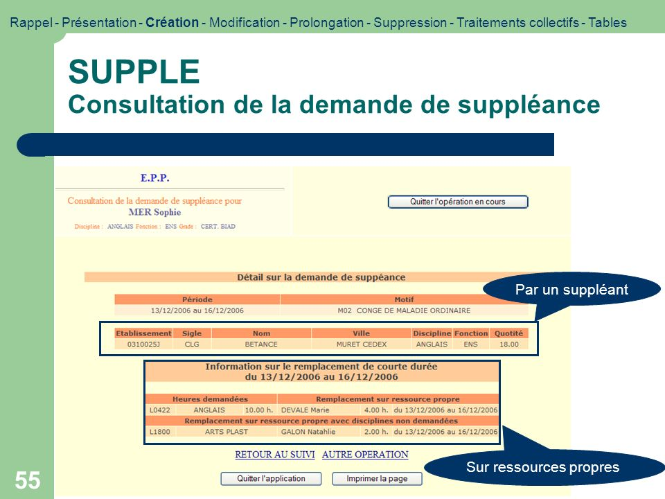 SUPPLE Consultation de la demande de suppléance