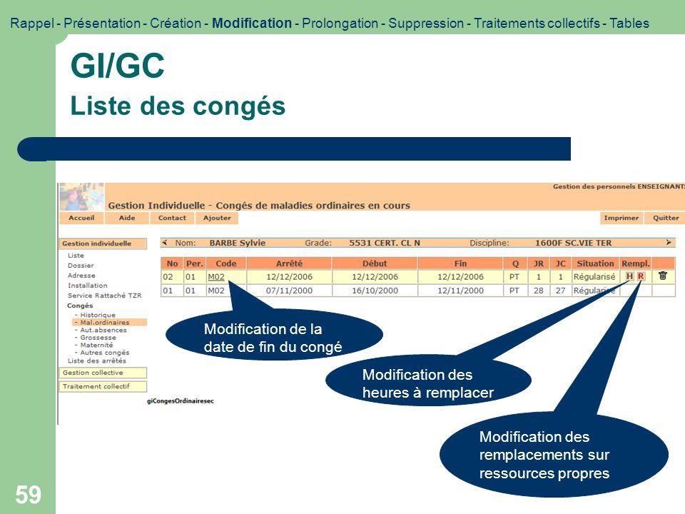 GI/GC Liste des congés Modification de la date de fin du congé