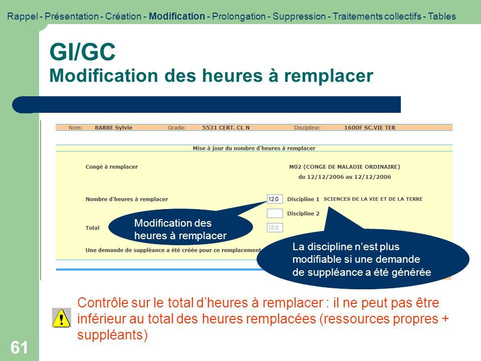 GI/GC Modification des heures à remplacer