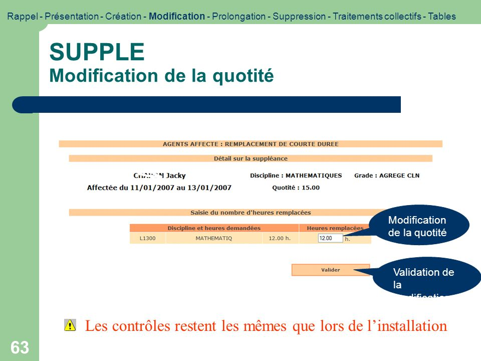 SUPPLE Modification de la quotité