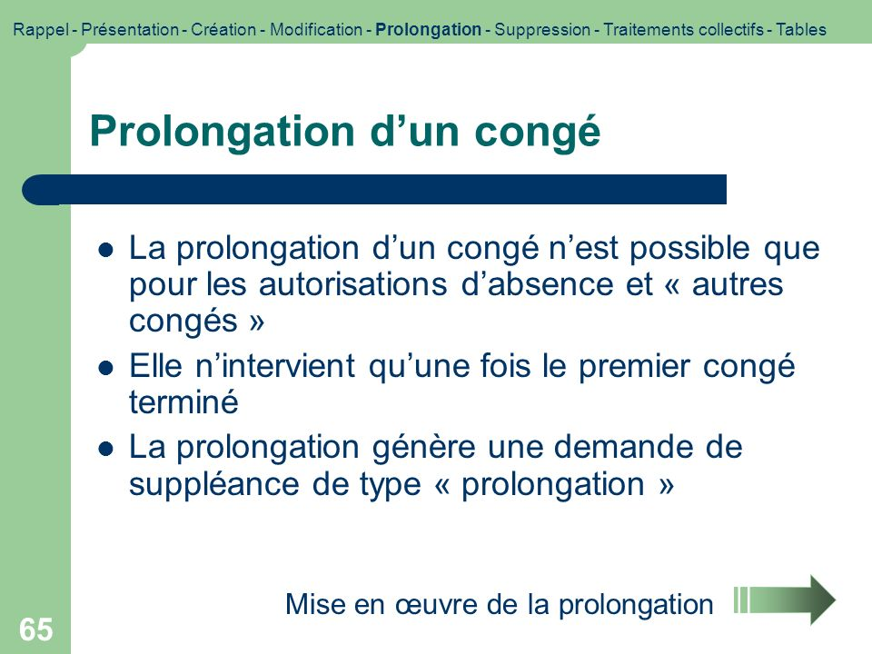 Prolongation d'un congé