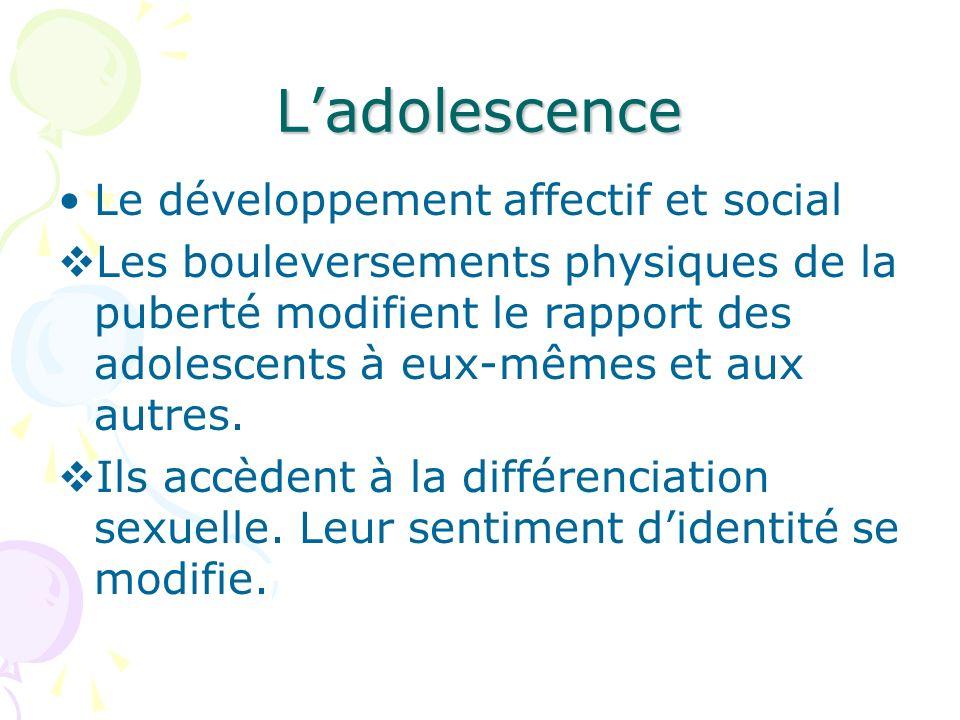 L'adolescence Le développement affectif et social