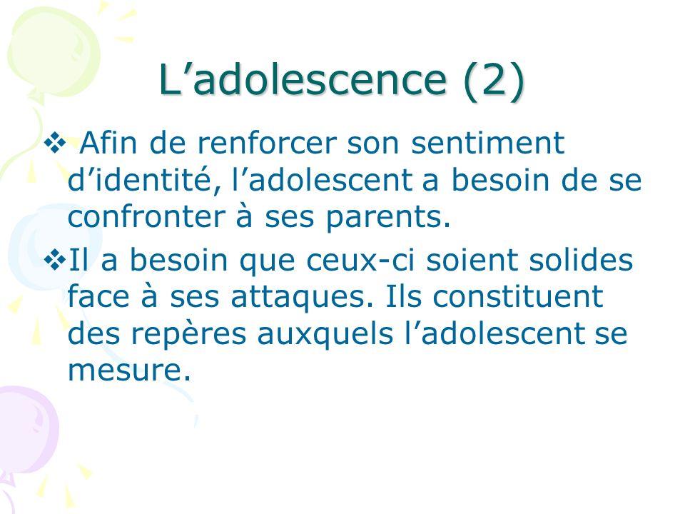 L'adolescence (2) Afin de renforcer son sentiment d'identité, l'adolescent a besoin de se confronter à ses parents.