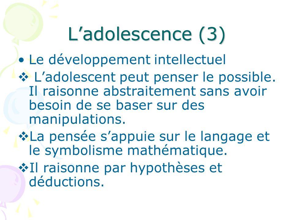 L'adolescence (3) Le développement intellectuel