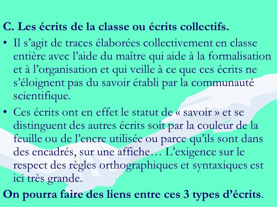 C. Les écrits de la classe ou écrits collectifs.