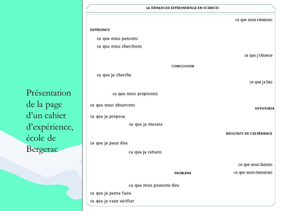Présentation de la page d'un cahier d'expérience, école de Bergerac