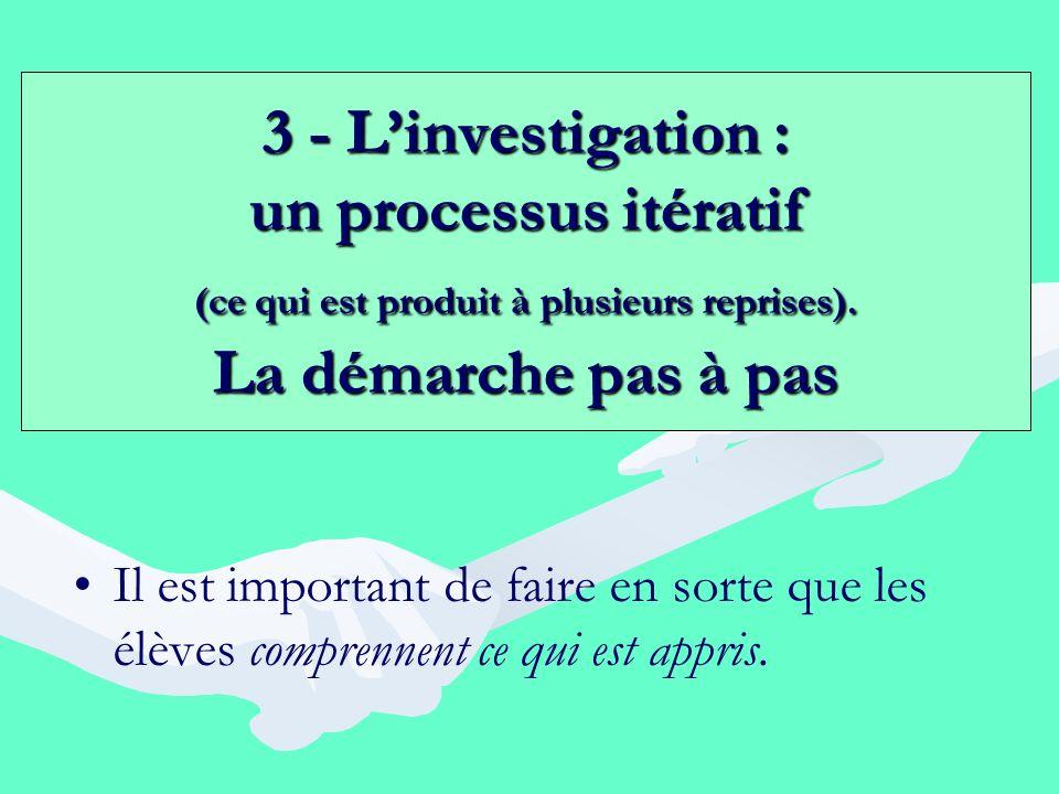 3 - L'investigation : un processus itératif (ce qui est produit à plusieurs reprises). La démarche pas à pas