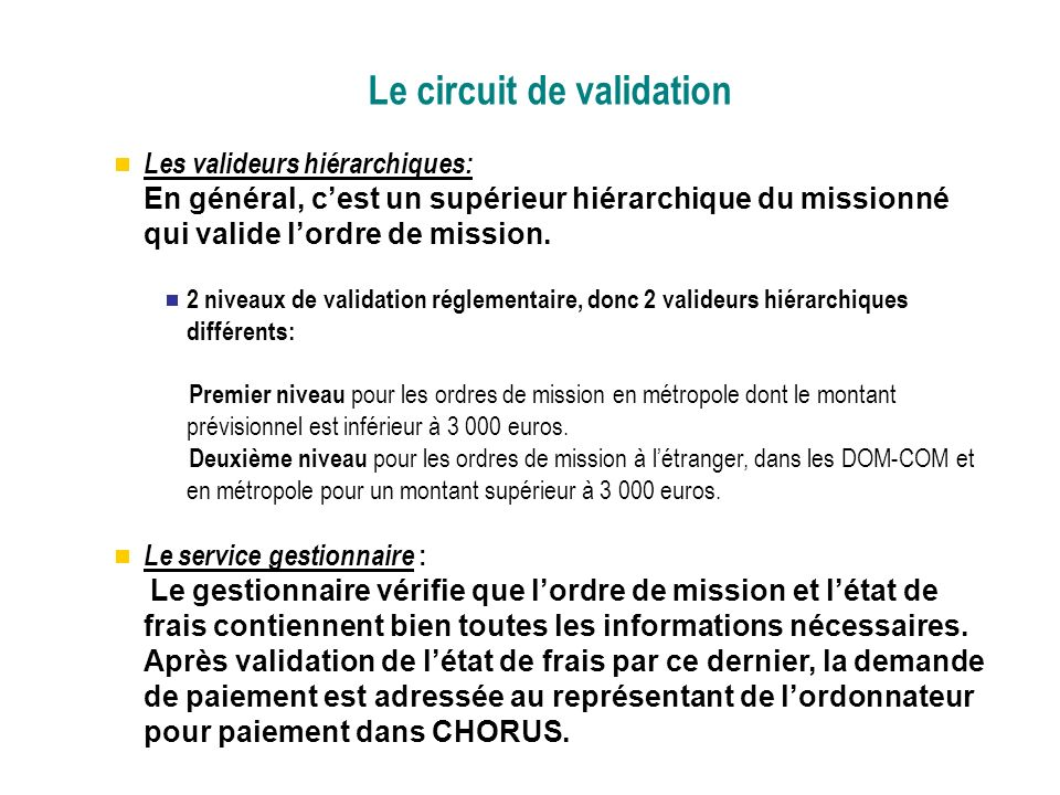 Le circuit de validation