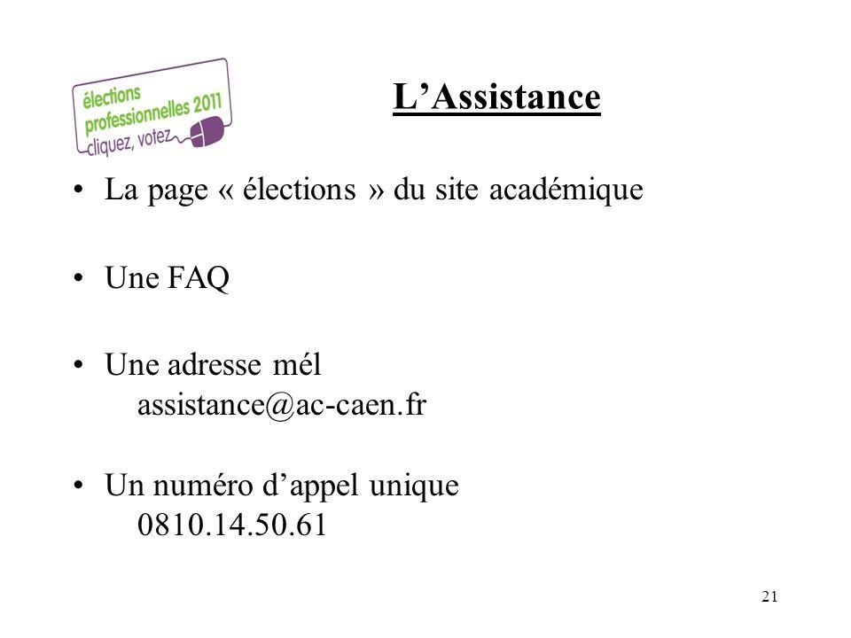 L'Assistance La page « élections » du site académique Une FAQ