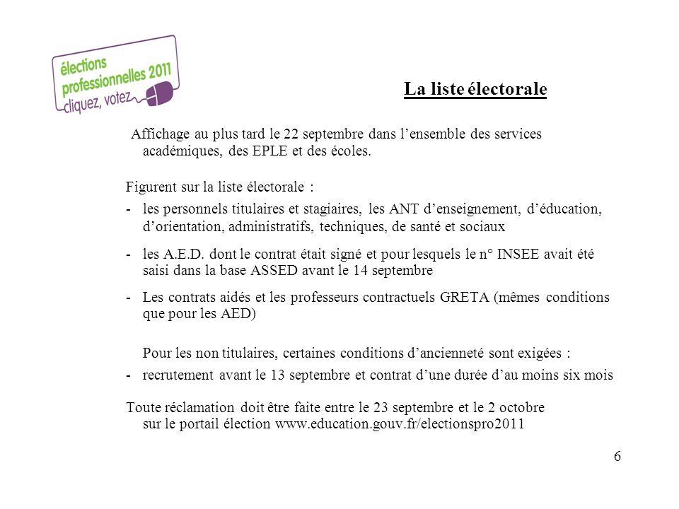 La liste électorale Affichage au plus tard le 22 septembre dans l'ensemble des services académiques, des EPLE et des écoles.