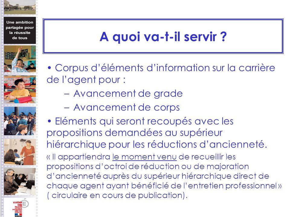 A quoi va-t-il servir Corpus d'éléments d'information sur la carrière de l'agent pour : Avancement de grade.