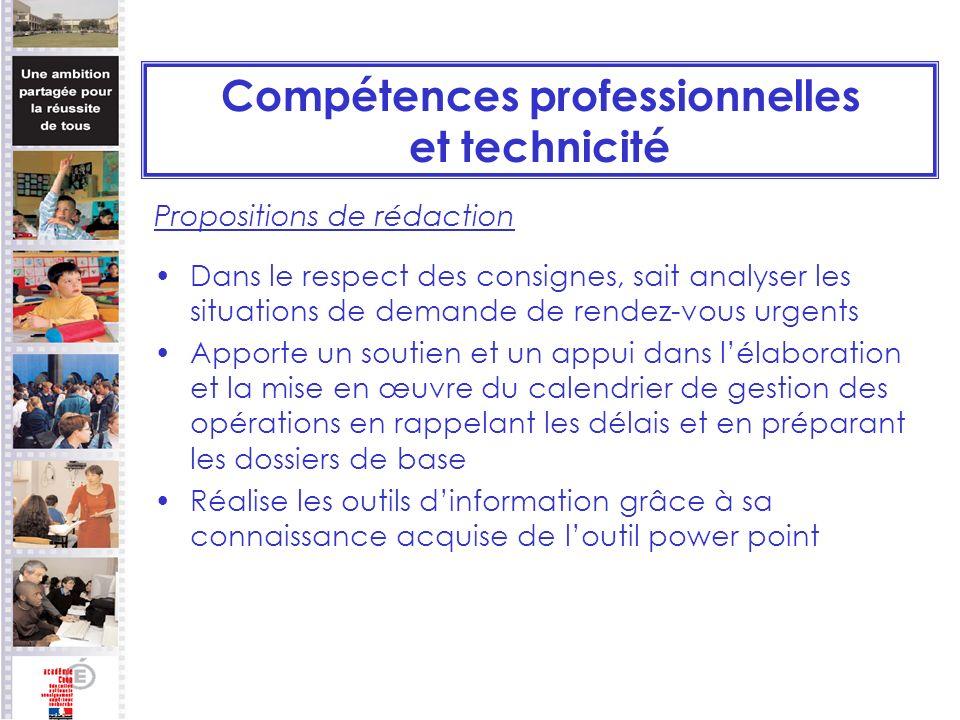 Compétences professionnelles et technicité
