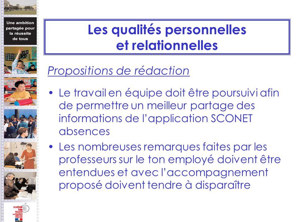 Les qualités personnelles et relationnelles