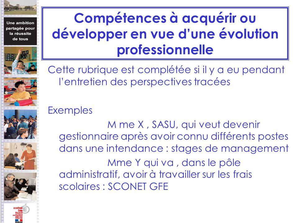 Compétences à acquérir ou développer en vue d'une évolution professionnelle