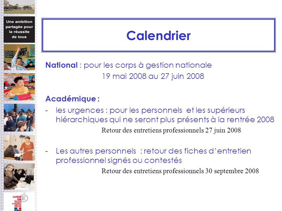 Calendrier National : pour les corps à gestion nationale