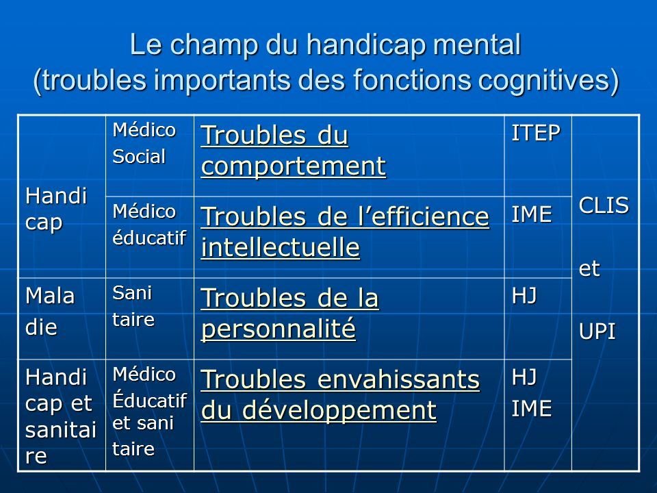 Le champ du handicap mental (troubles importants des fonctions cognitives)