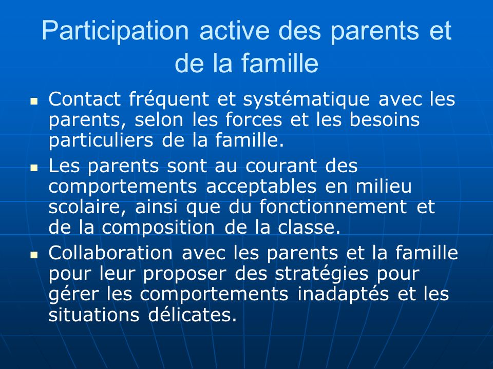 Participation active des parents et de la famille