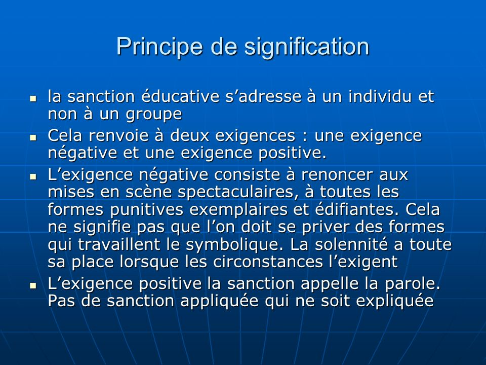 Principe de signification