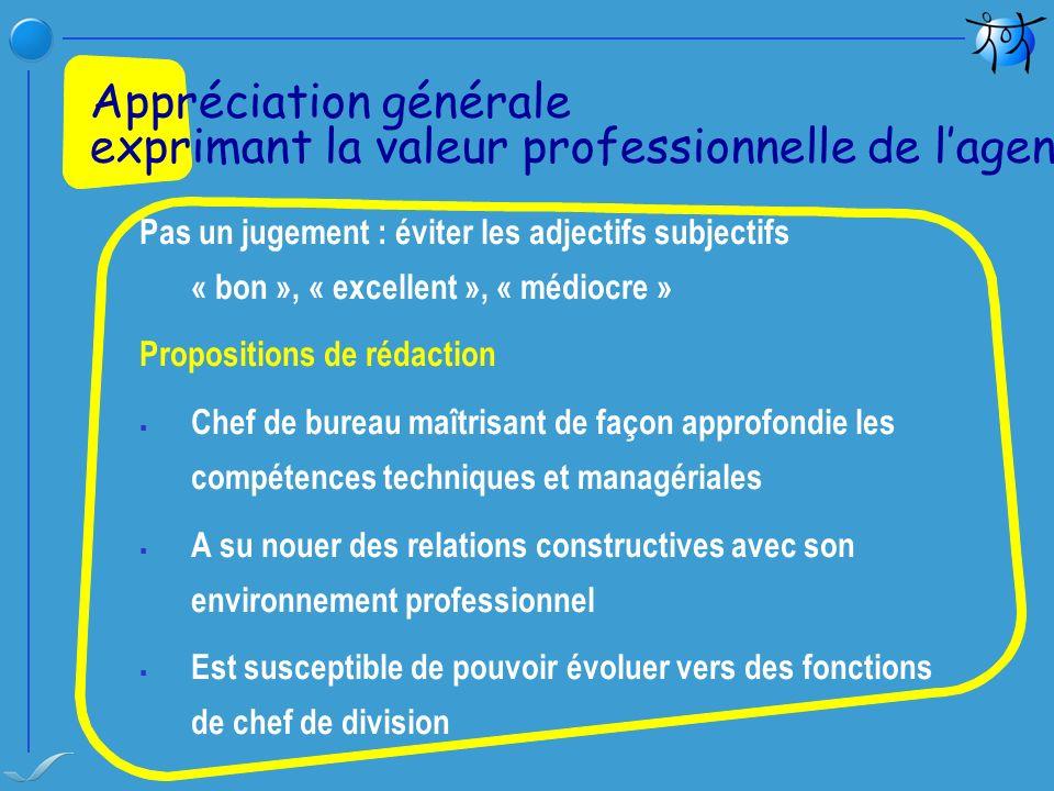 Appréciation générale exprimant la valeur professionnelle de l'agent