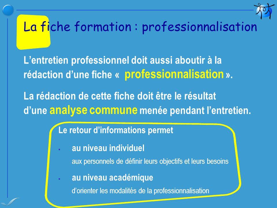 La fiche formation : professionnalisation
