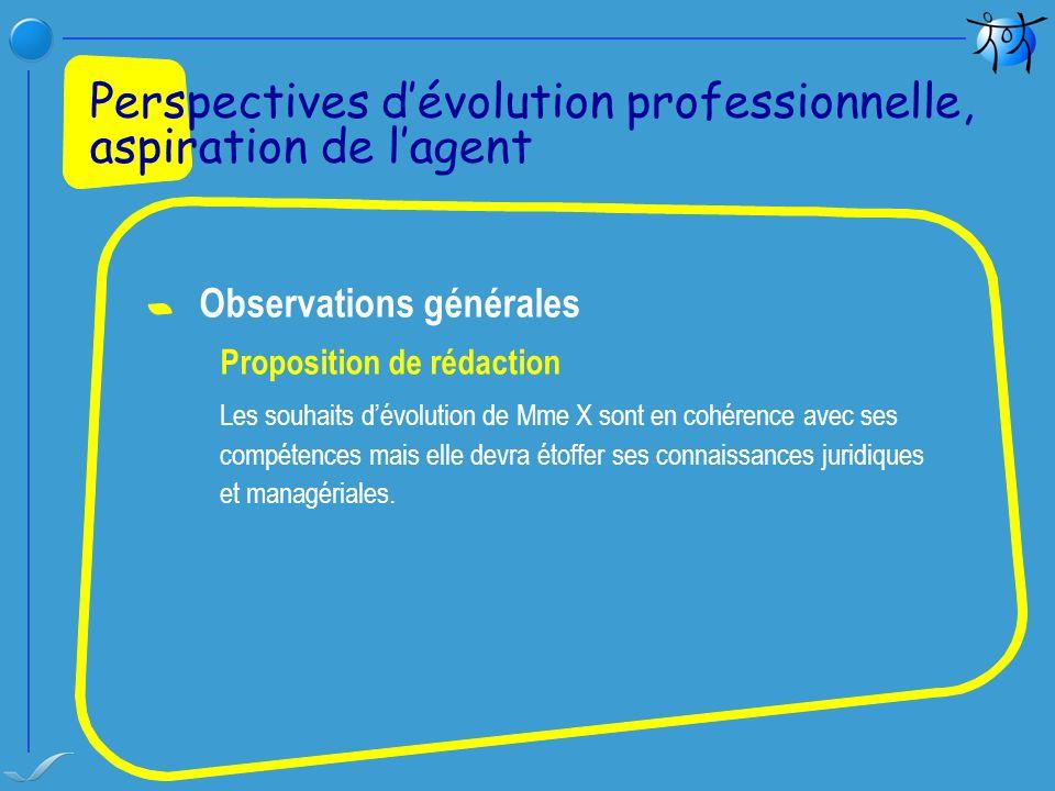 Perspectives d'évolution professionnelle, aspiration de l'agent