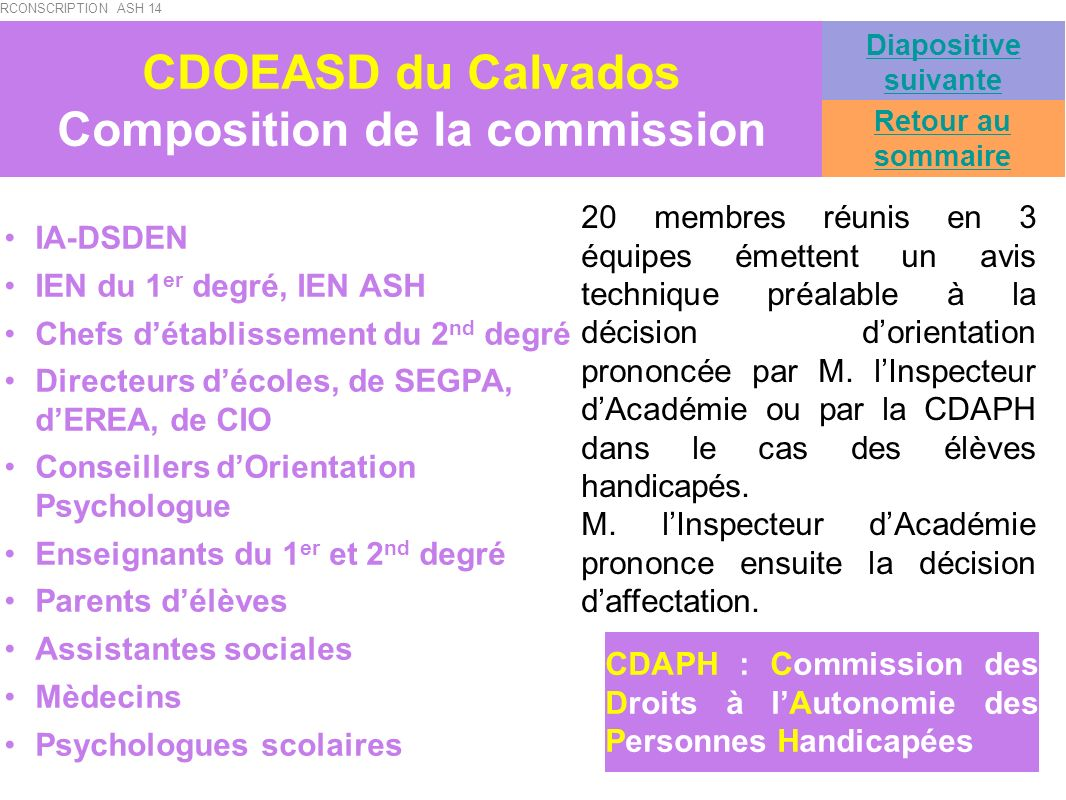 CDOEASD du Calvados Composition de la commission