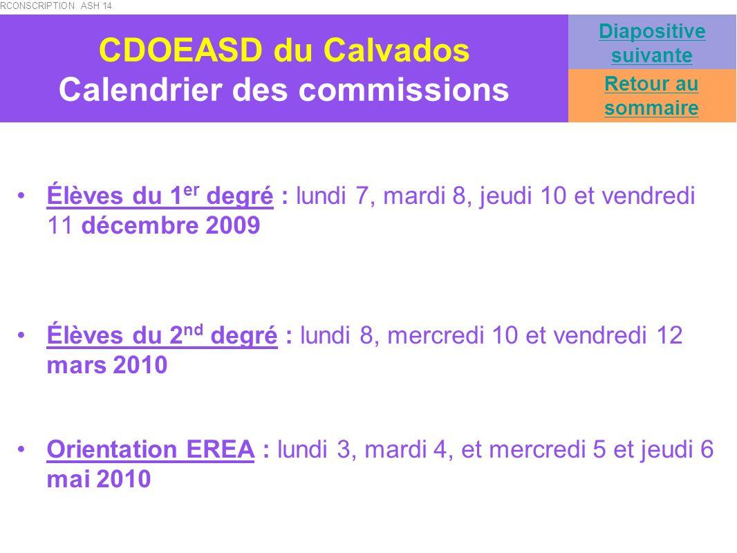 CDOEASD du Calvados Calendrier des commissions