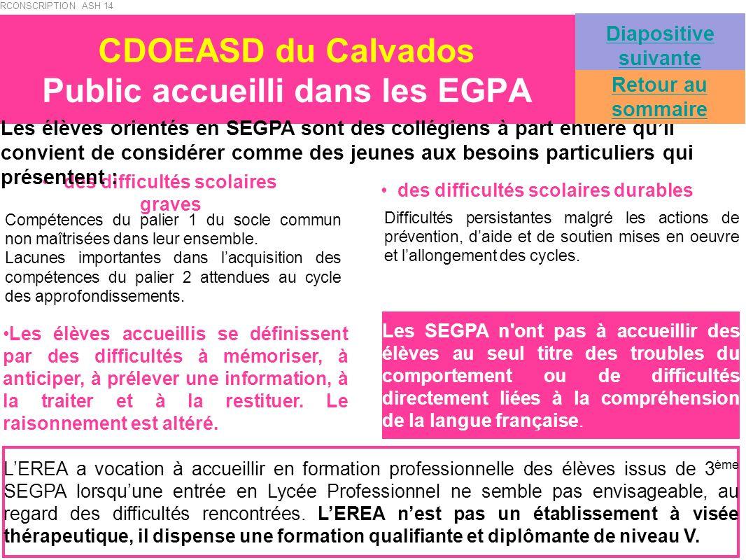CDOEASD du Calvados Public accueilli dans les EGPA