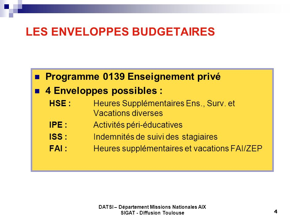 LES ENVELOPPES BUDGETAIRES