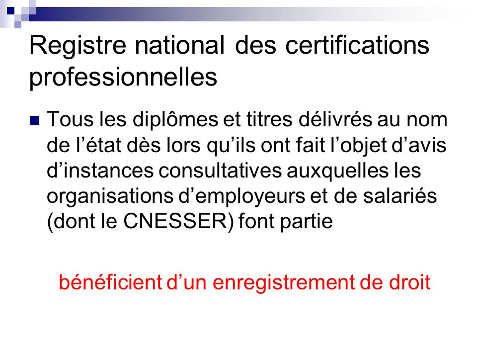 Registre national des certifications professionnelles