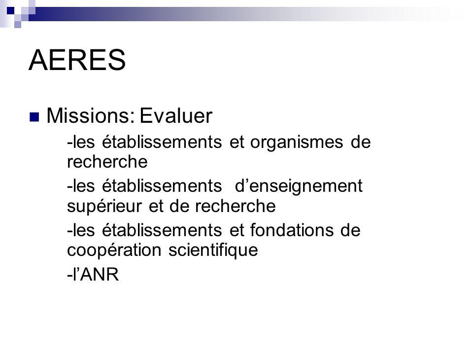 AERES Missions: Evaluer -les établissements et organismes de recherche
