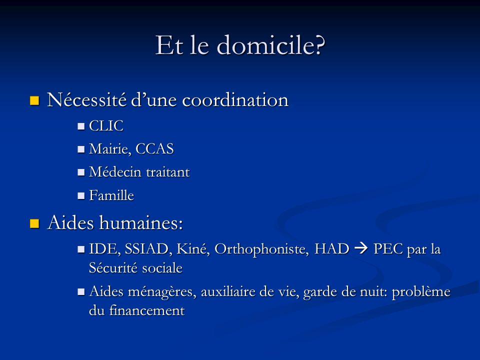 Et le domicile Nécessité d'une coordination Aides humaines: CLIC