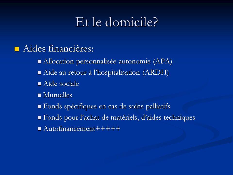 Et le domicile Aides financières:
