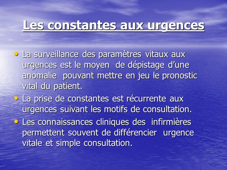 Les constantes aux urgences