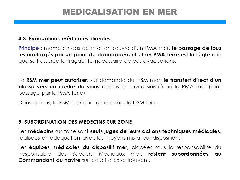 MEDICALISATION EN MER 4.3. Évacuations médicales directes