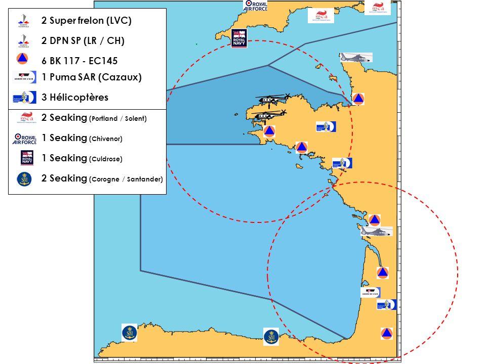 2 Super frelon (LVC)2 DPN SP (LR / CH) 6 BK 117 - EC145. 1 Puma SAR (Cazaux) 3 Hélicoptères. 2 Seaking (Portland / Solent)