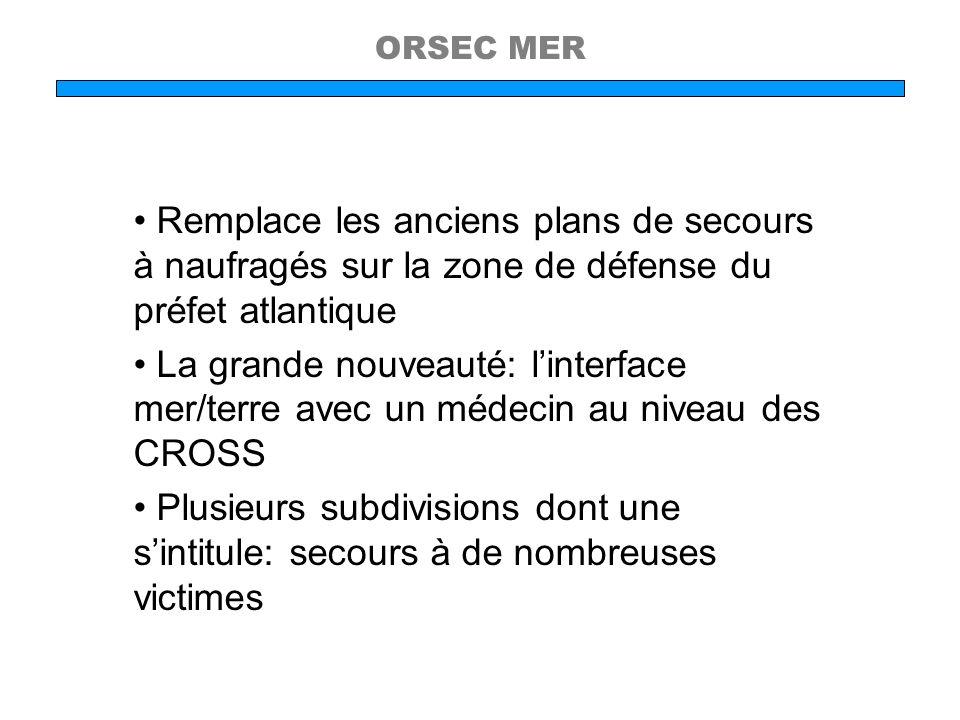 ORSEC MERRemplace les anciens plans de secours à naufragés sur la zone de défense du préfet atlantique.