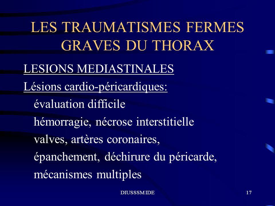LES TRAUMATISMES FERMES GRAVES DU THORAX