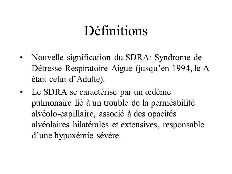 Définitions Nouvelle signification du SDRA: Syndrome de Détresse Respiratoire Aigue (jusqu'en 1994, le A était celui d'Adulte).