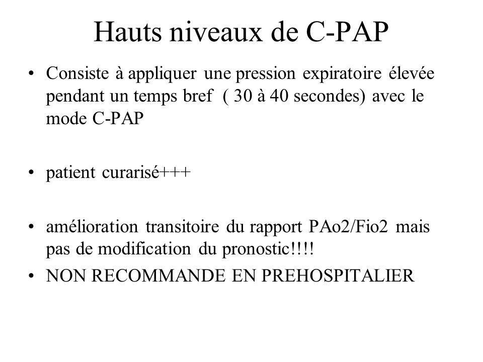 Hauts niveaux de C-PAP Consiste à appliquer une pression expiratoire élevée pendant un temps bref ( 30 à 40 secondes) avec le mode C-PAP.
