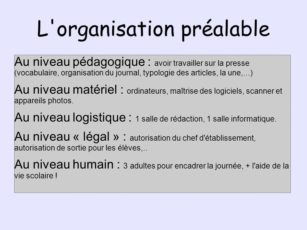 L organisation préalable