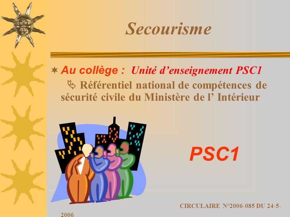 Secourisme PSC1 CIRCULAIRE N°2006-085 DU 24-5-2006