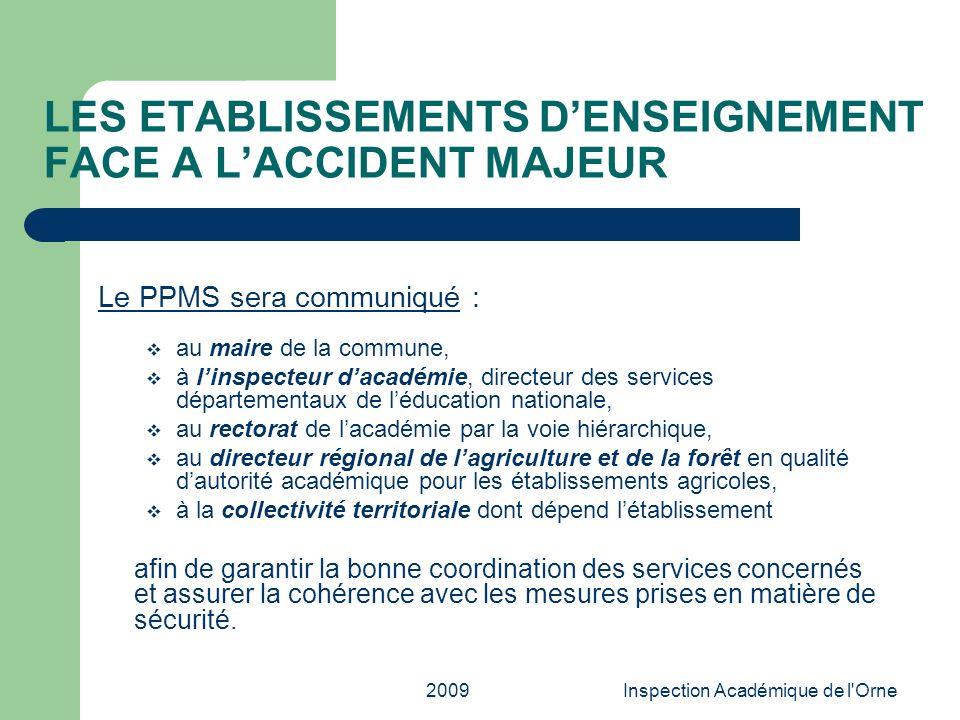 LES ETABLISSEMENTS D'ENSEIGNEMENT FACE A L'ACCIDENT MAJEUR
