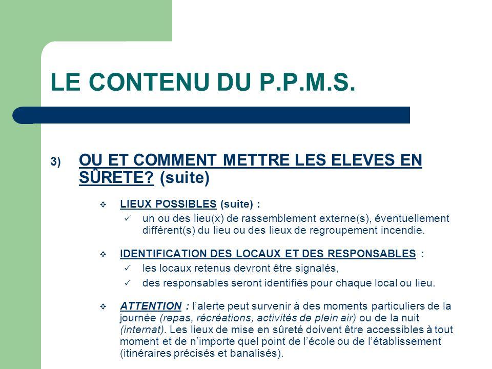 LE CONTENU DU P.P.M.S. OU ET COMMENT METTRE LES ELEVES EN SÛRETE (suite) LIEUX POSSIBLES (suite) :