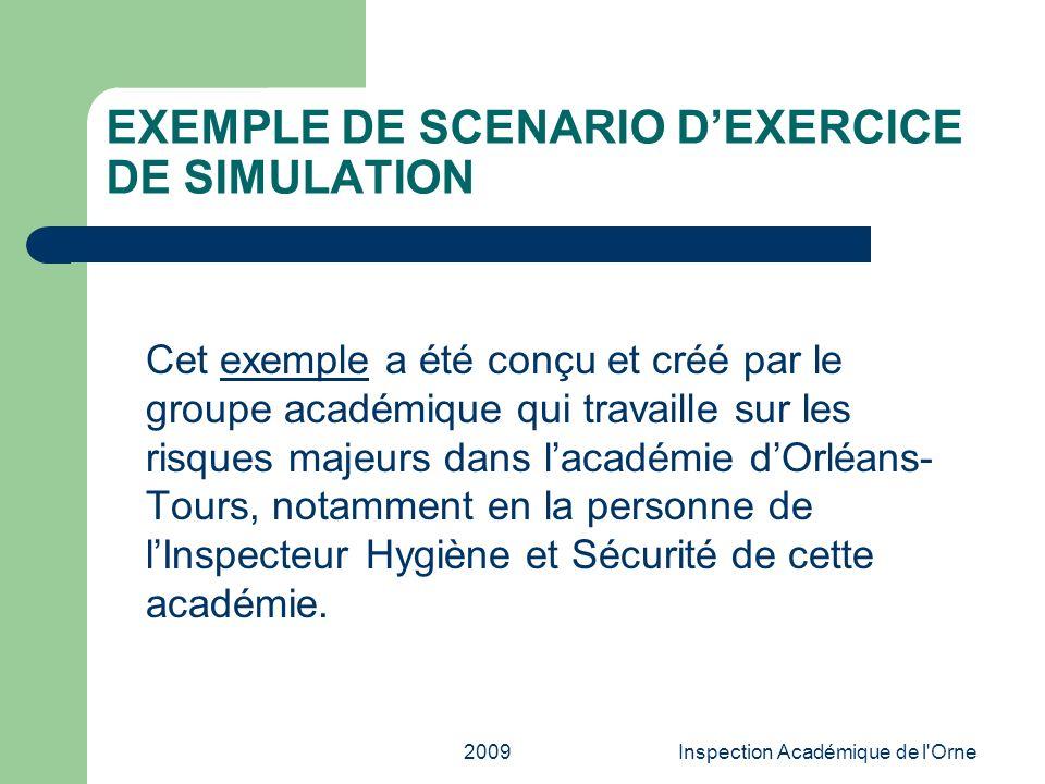 EXEMPLE DE SCENARIO D'EXERCICE DE SIMULATION