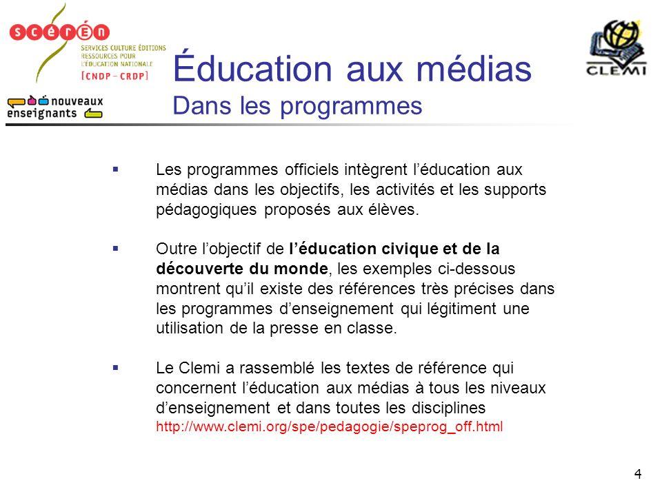 Éducation aux médias Dans les programmes