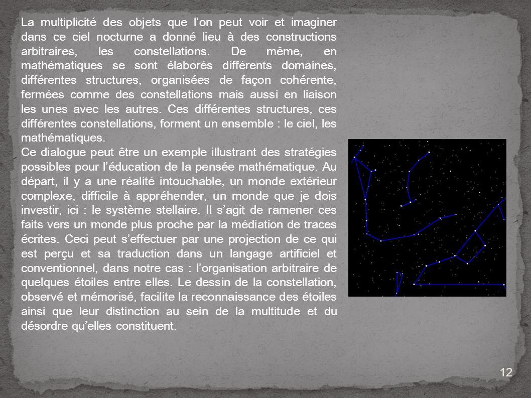 La multiplicité des objets que l'on peut voir et imaginer dans ce ciel nocturne a donné lieu à des constructions arbitraires, les constellations. De même, en mathématiques se sont élaborés différents domaines, différentes structures, organisées de façon cohérente, fermées comme des constellations mais aussi en liaison les unes avec les autres. Ces différentes structures, ces différentes constellations, forment un ensemble : le ciel, les mathématiques.