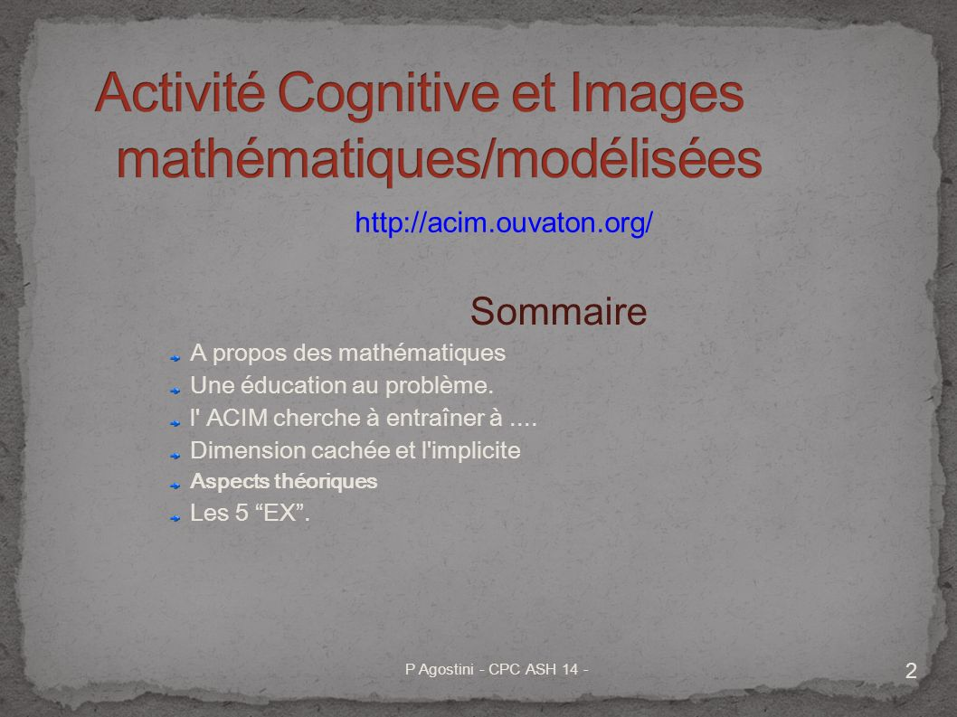 Activité Cognitive et Images mathématiques/modélisées
